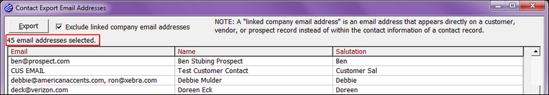 14Contacts - Export Email Exclude Linked